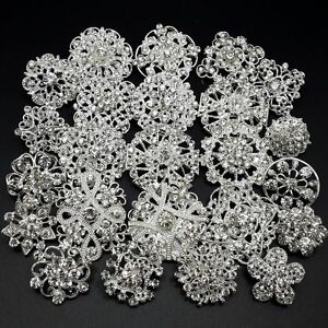Lot-24-pc-Mixed-Alloy-Sliver-Rhinestone-Crystal-Brooch-DIY-Wedding-Bouquet
