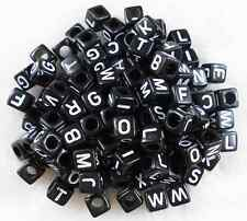 100Pcs 6x6mm Black Alphabet /Letter Acrylic Cube Spacer Loose Beads