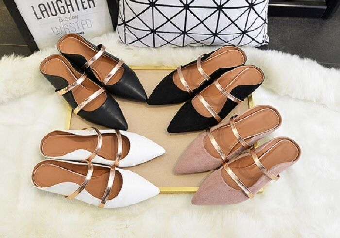 MW009184 - FASHION POINTED DOUBLE STRAPPED SLIPPER chaussures (Taille 34 - 41)