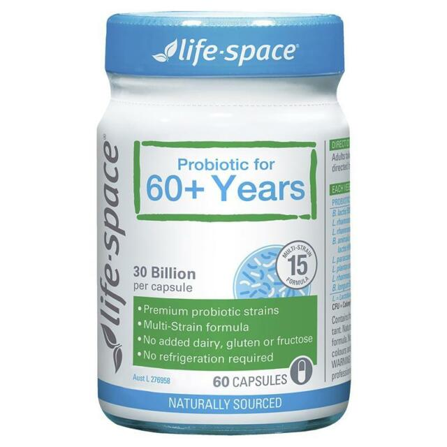 LIFE SPACE PROBIOTIC FOR 60+ YEARS 60 CAPSULES FOR DIGESTIVE HEALTH ELDERLY