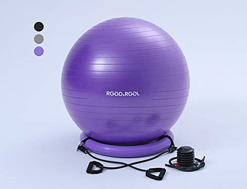 Yoga Ball Chair Exercise Balance 65cm With Inflatable Stability Ring 2 Bands For Sale Online Ebay