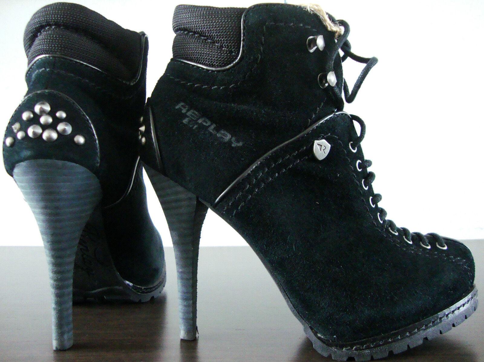 Replay señora botín rp320016l señora botas de cuero ankleboots tachuelas nuevo