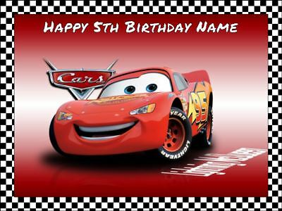 LIGHTNING McQUEEN A4 Edible Icing Birthday Cake Party Decoration Topper #3
