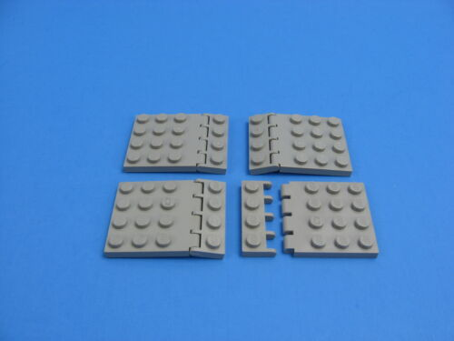 4x Pairs LEGO Old Light Gray Hinge Roof Plate 4x4 w//Hinge Plate 1x4 #4213 4315