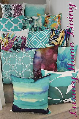 Aqua White Cushion Cover: Geometric Abstract Splatter Zebra Decor Throw Pineappl