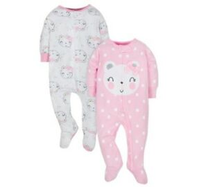 53a1cd8ea4ad Gerber Baby Girl 2-Piece Pink Bear Organic Cotton Sleep N  Plays ...
