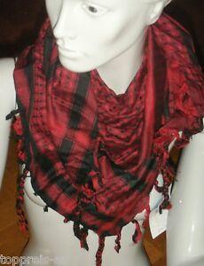 100% Baumwolle Handarbeit Arafat PalÄstinenser Tuch Schal Halstuch Kufiya Rot