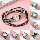 Women's Gemstone Flower Leather Quartz Dress Wrist Watch Bracelet Gift