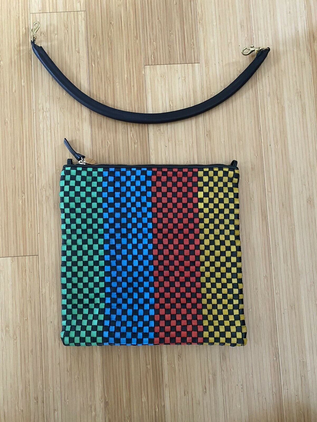 Claire V Woven Leather Clutch Bag - image 3