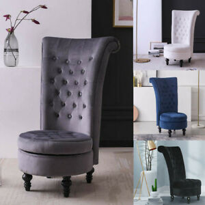 Retro-High-Back-Armless-Chair-Living-Room-Upholstered-Tufted-Royal-Accent-Seat