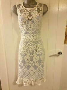 Lipsy-Size-12-Baby-Blue-And-White-Lace-Occasion-Dress