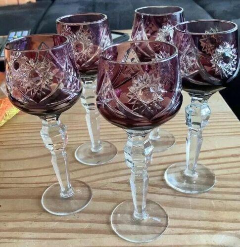 Bleikristall Gläser Römer alt Likör Gläser In der Farbe Granat .