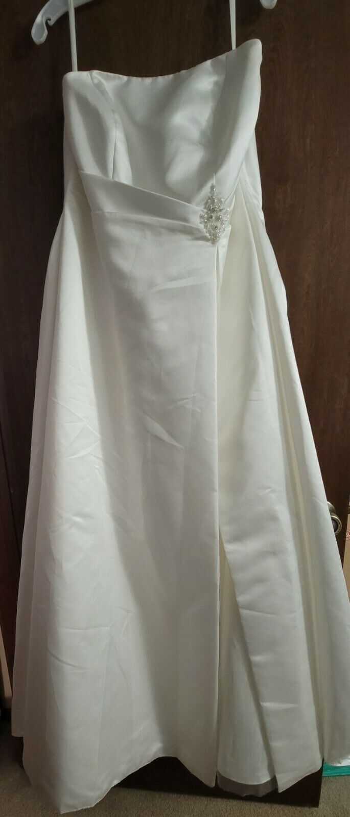 David's Bridal Wedding Dress Plus Size 20W Ruched A-Line Ivory, Lined Tulle