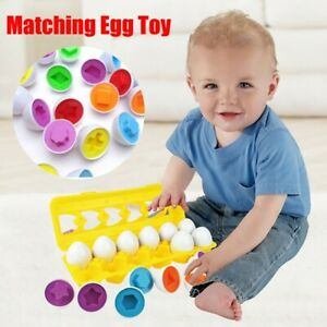 Color-amp-Shape-Sorter-Matching-Egg-Set-Educational-Learn-Toy-Kids-Gift-6-12Pc