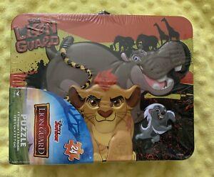 Disney-Lion-King-Guard-Puzzle-Tin-Lunchbox-Case-Metal-15-034-x12-5-034-24pc-Kids