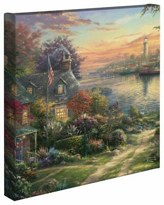 Thomas Kinkade Wrap Perseverance Map Collage 14 x 14 Gallery Wrapped Canvas