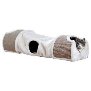 TRIXIE-kratztunnel-gris-clair-brun-pour-chats-NEUF
