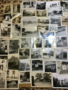 100-Photos-Lot-Vintage-Photographs-Snapshots-People-w-Old-Houses-Buildings