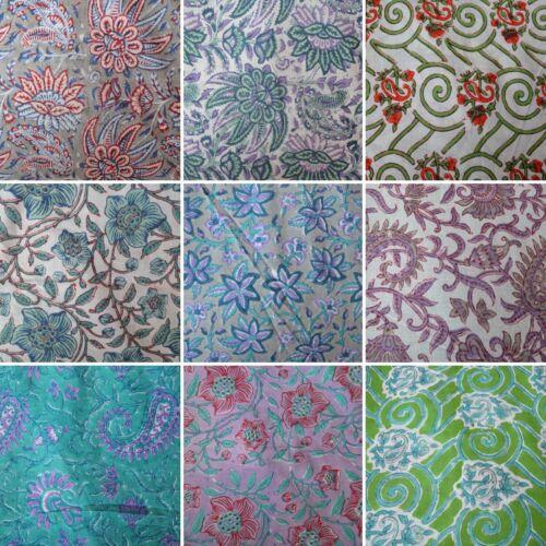 Vintage MANO INDIA de tela de algodón impresa natural impresión de bloque sanganeri hecho a mano