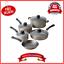Aluminio-9-piezas-Ollas-y-Sartenes-Antiadherente-champan-Juego-de-utensilios-de-cocina-comedor-amp miniatura 1