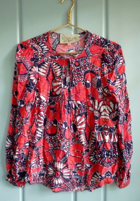 Rory Beca Womens XS 0 2 Red White Blue Floral Batik Blouse Shirt Top Tie Front