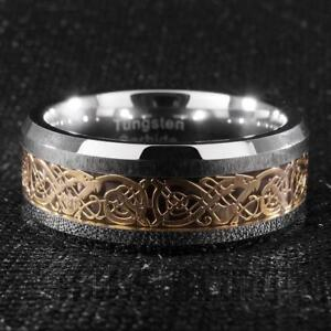8MM-Gold-Silver-Celtic-Dragon-Tungsten-Carbide-Carbon-Fiber-Wedding-Band-Ring
