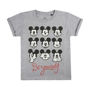 Disney-Be-Yourself-Official-Girls-T-shirt-Grey
