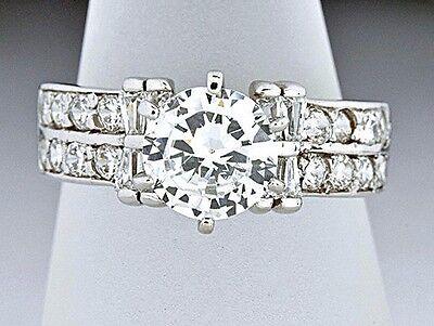 Elegante Anillo Argolla De Compromiso 1ct Diamante Simulado Solitario de Oro 14k