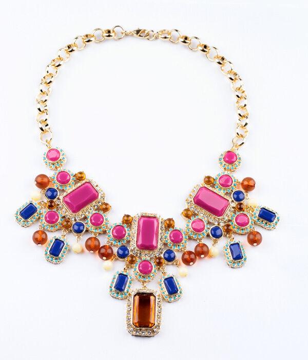 Collar Étnico Cuadrado pink Vivo Marino Ámbar Mini Perla Original Noche QT 11