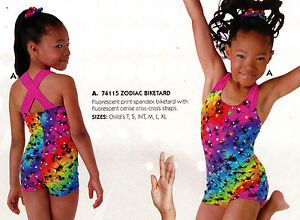 NWT Motionwear Gymnastic Biketard Orange w//Black foil hologram childsizes