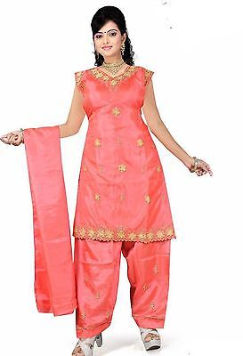 Salwar Kameez Set Karneval Sari Boho Indien Bollywood Orange in 4 Größen