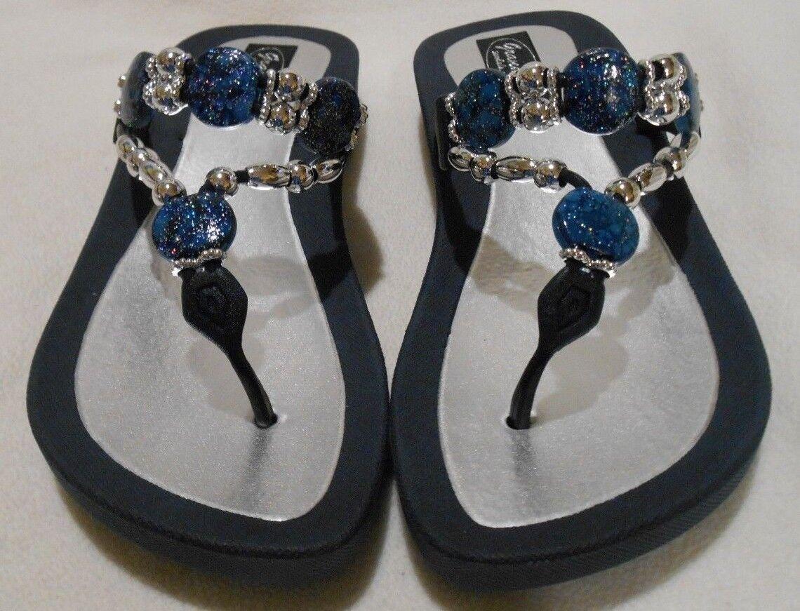 431399db3c866c GRANDCO SANDALS Beach Pool THONG BLACK Dressy BLING METALLIC Jeweled ...