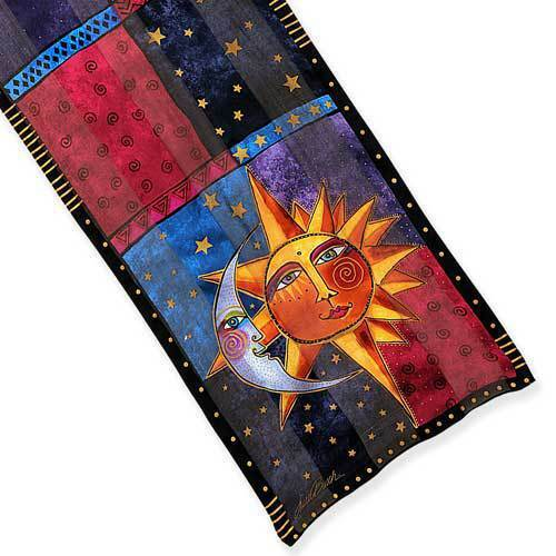"Laurel Burch Multicolored Eclipse Sun & Moon 100% Silk Scarf 11"" x 53"""