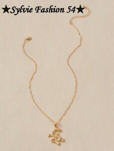???????? Beau Collier chaine pendentif métal doré or pendentif dragon et strass