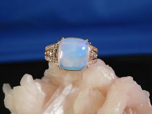 7eaca06bc6838 Details about Ladies 4.44 Ct. Cushion Cabochon Ethiopian Opal and Diamond  10K Rose Gold Ring