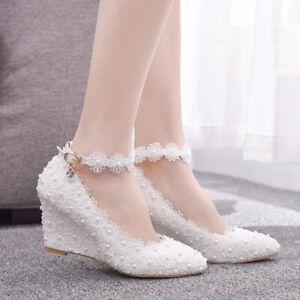 7cm White Women Shoes Wedges Lace Bridal Wedding Shoes Pearls Tassel  Pumps