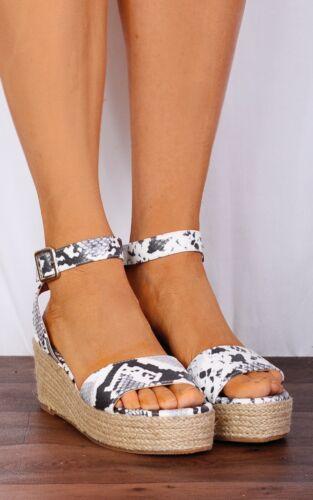 New Womens Platform Sandals Espadrille Ankle Strap Comfy Summer Shoes Sizes 3-8