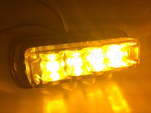 4 LED Grille Light Car Truck Side Marker Emergency Recovery Strobe Warn Beacon