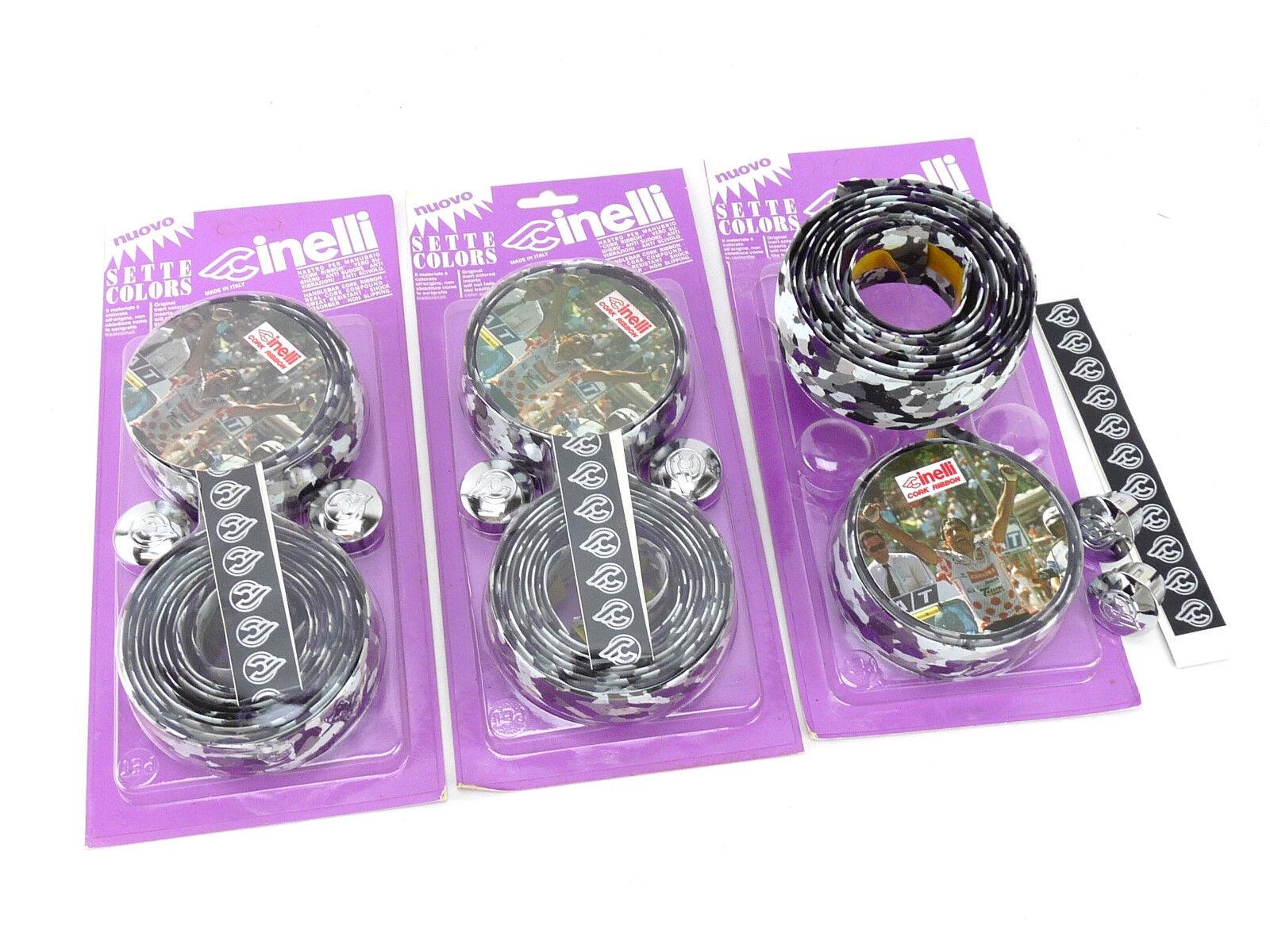 Cinelli handlebar tape Grey White Purple cork Ribbon vintage bike NOS x 3 LOT