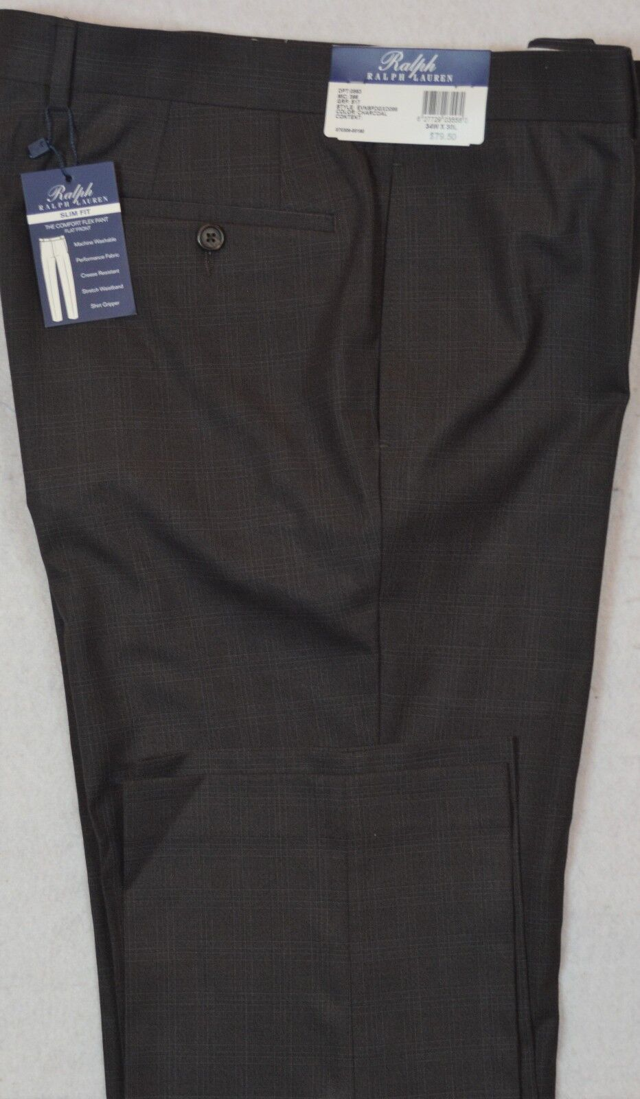 Ralph Lauren Comfort Flex Slim Fit Charcoal Flat Front Dress Pant 40 32 NWT