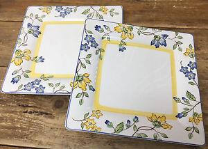 Fiori Gialli Toscana.Toscana Villeroy Boch 2 Square Dinner Plates 325150 Blue Yellow