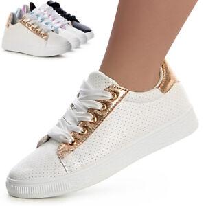76e1782f1ef8d6 Das Bild wird geladen Damenschuhe-Sneaker-Turnschuhe-Sportschuhe-Metallic- Plateau-Skater-Freizeit