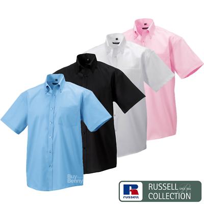 Gewidmet Russell Non Iron Men's Shirt Short Sleeve 100% Cotton Button Down Collar Smart
