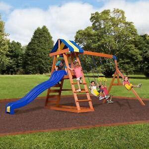 Backyard Discovery Cedar Wooden Kids Swing Set Slide ...