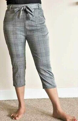 VR7 Ladies Womens 3//4 Elasticated Shorts Check Stretchy Cropped Capri Trouser Pants Size 8-14