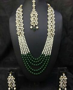 429d79a21 Indian Bollywood Gold Plated Wedding Bridal Costume Pearl Jewellery .