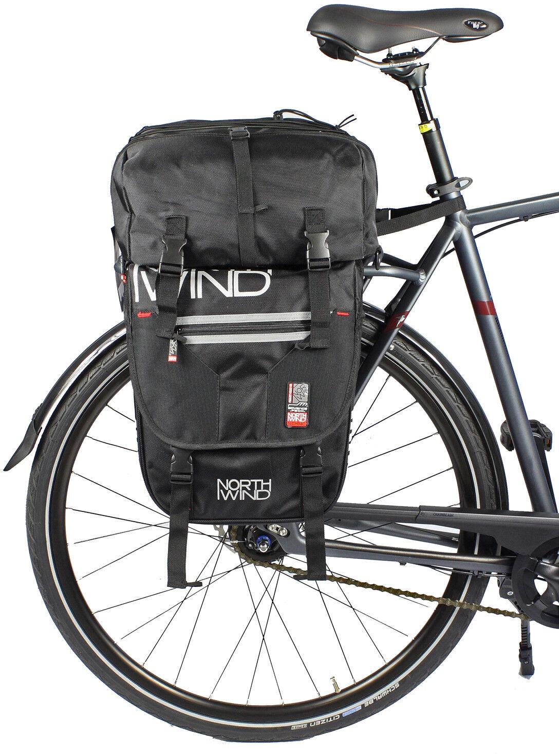 Northwind Packtaschenset für Gepäckträger 50 L Doppeltasche mit Rucksack NEU