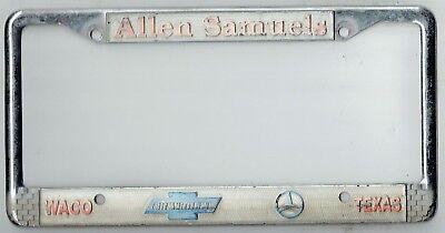 Waco Texas Allen Samuels Chevrolet Mercedes Vintage Dealer License Plate Frame Ebay