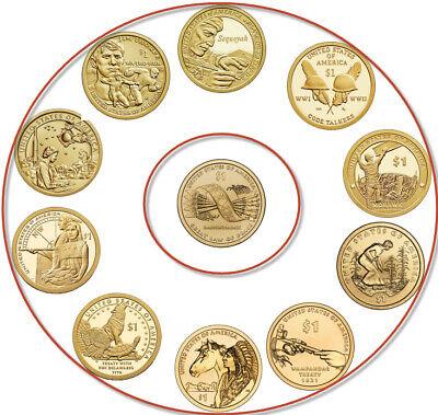 Sacagawea Native American Uncirc Dollars Set 2009-2019 11 P /& 11 D 22