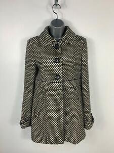 WOMENS TRF WOOL COLLECTION BLACK/WHITE WINTER CASUAL COAT JACKET SIZE EUR MEDIUM